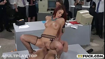Red haired woman is fucking her colleagues from work, on her first working day in a new company